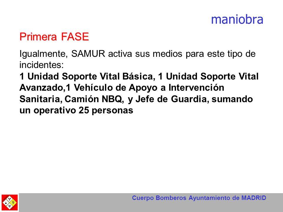 Cuerpo Bomberos Ayuntamiento de MADRID maniobra Primera FASE Igualmente, SAMUR activa sus medios para este tipo de incidentes: 1 Unidad Soporte Vital