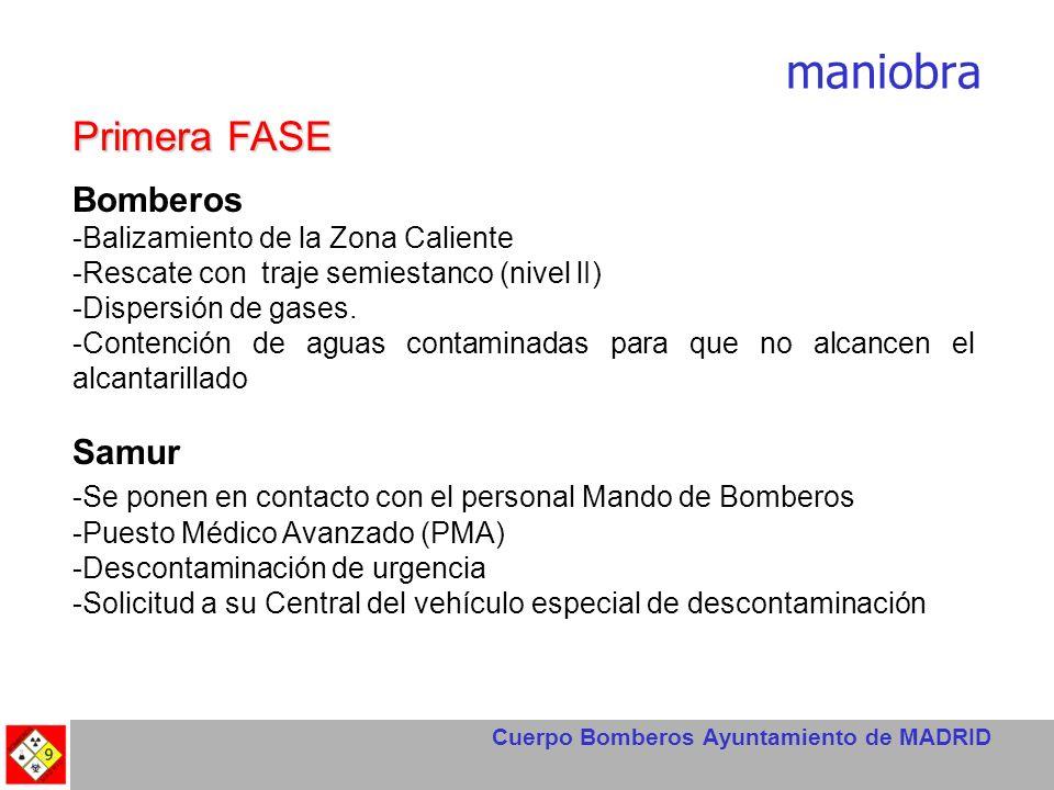 Cuerpo Bomberos Ayuntamiento de MADRID maniobra Primera FASE Bomberos -Balizamiento de la Zona Caliente -Rescate con traje semiestanco (nivel lI) -Dis
