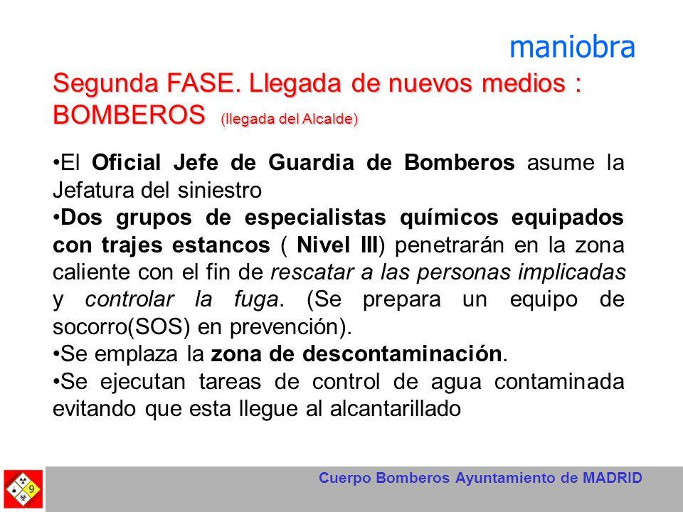 Cuerpo Bomberos Ayuntamiento de MADRID maniobra Segunda FASE. Llegada de nuevos medios : BOMBEROS (llegada del Alcalde) El Oficial Jefe de Guardia de