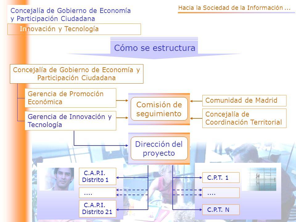 Concejalía de Gobierno de Economía y Participación Ciudadana Innovación y Tecnología Cómo se estructura Comisión de seguimiento Gerencia de Promoción Económica Gerencia de Innovación y Tecnología Concejalía de Gobierno de Economía y Participación Ciudadana Comunidad de Madrid Concejalía de Coordinación Territorial Dirección del proyecto C.A.P.I.