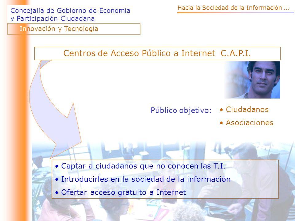 Concejalía de Gobierno de Economía y Participación Ciudadana Público objetivo: Ciudadanos Asociaciones Captar a ciudadanos que no conocen las T.I.