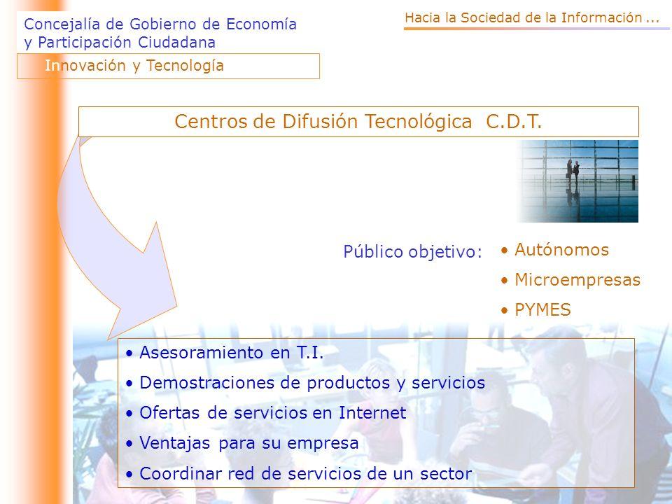 Concejalía de Gobierno de Economía y Participación Ciudadana Público objetivo: Autónomos Microempresas PYMES Asesoramiento en T.I.