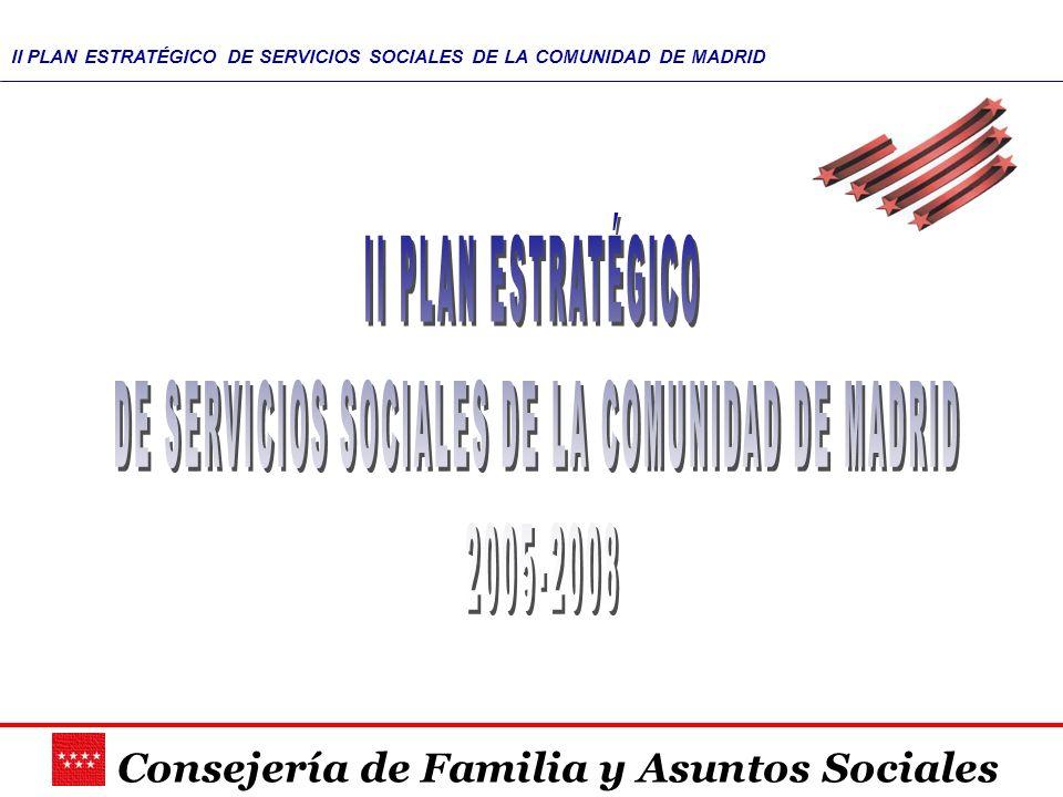 Consejería de Familia y Asuntos Sociales II PLAN ESTRATÉGICO DE SERVICIOS SOCIALES DE LA COMUNIDAD DE MADRID En 2001 se introduce la Planificación Estratégica como forma de gestionar el FUNCIONAMIENTO interno de la Organización, así como los CAMBIOS que precise para continuar siendo eficaz ante la cambiante realidad social, se redacta, entonces, el I Plan Estratégico En el año 2004, y conforme al mandato del artículo 48 de la Ley 11/2003, de Servicios Sociales, se elabora el II PLAN ESTRATÉGICO 2005-2008, dando continuidad al camino iniciado.
