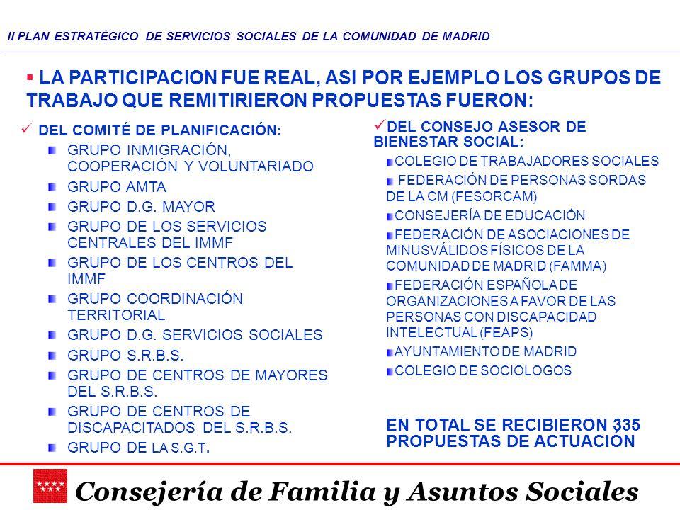 Consejería de Familia y Asuntos Sociales II PLAN ESTRATÉGICO DE SERVICIOS SOCIALES DE LA COMUNIDAD DE MADRID DEL COMITÉ DE PLANIFICACIÓN: GRUPO INMIGR