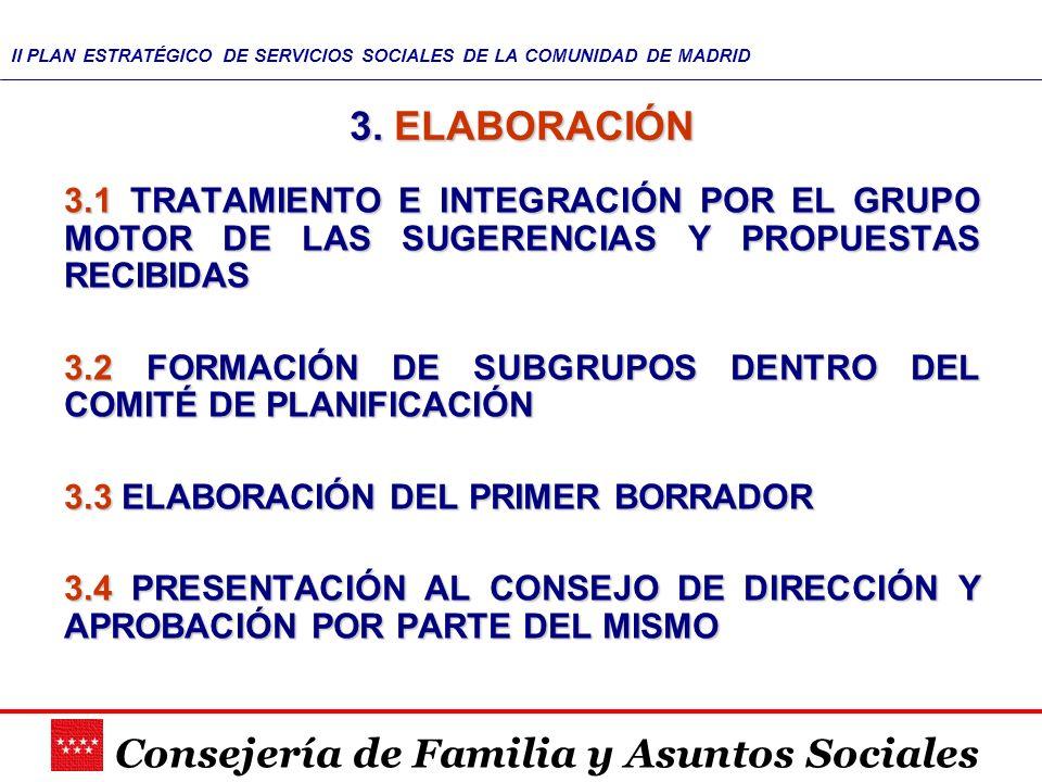 Consejería de Familia y Asuntos Sociales II PLAN ESTRATÉGICO DE SERVICIOS SOCIALES DE LA COMUNIDAD DE MADRID 3. ELABORACIÓN 3.1 TRATAMIENTO E INTEGRAC