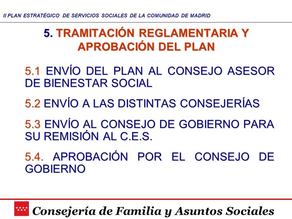 Consejería de Familia y Asuntos Sociales II PLAN ESTRATÉGICO DE SERVICIOS SOCIALES DE LA COMUNIDAD DE MADRID 5. TRAMITACIÓN REGLAMENTARIA Y APROBACIÓN