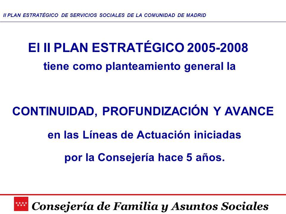 Consejería de Familia y Asuntos Sociales II PLAN ESTRATÉGICO DE SERVICIOS SOCIALES DE LA COMUNIDAD DE MADRID El II PLAN ESTRATÉGICO 2005-2008 tiene co