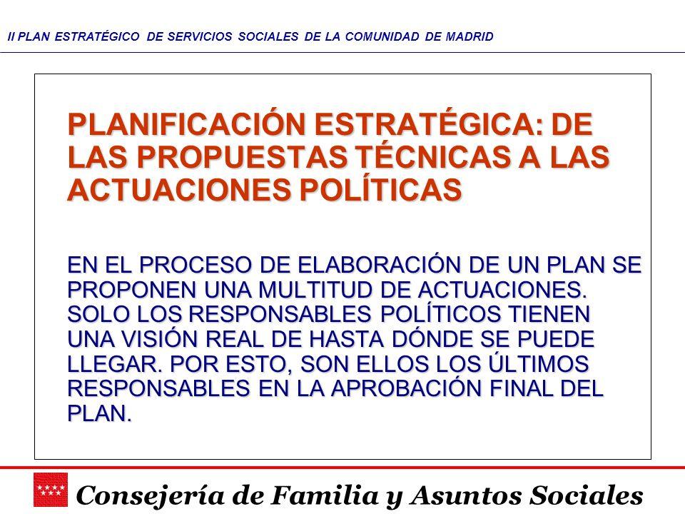 Consejería de Familia y Asuntos Sociales II PLAN ESTRATÉGICO DE SERVICIOS SOCIALES DE LA COMUNIDAD DE MADRID PLANIFICACIÓN ESTRATÉGICA: DE LAS PROPUES