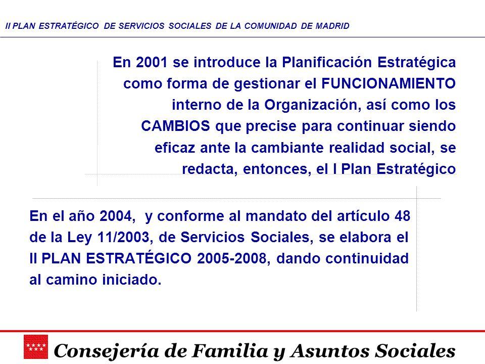 Consejería de Familia y Asuntos Sociales II PLAN ESTRATÉGICO DE SERVICIOS SOCIALES DE LA COMUNIDAD DE MADRID En 2001 se introduce la Planificación Est