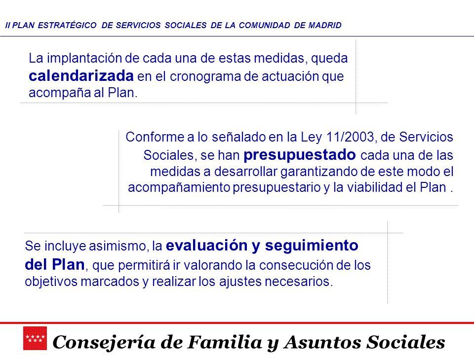 Consejería de Familia y Asuntos Sociales II PLAN ESTRATÉGICO DE SERVICIOS SOCIALES DE LA COMUNIDAD DE MADRID La implantación de cada una de estas medi