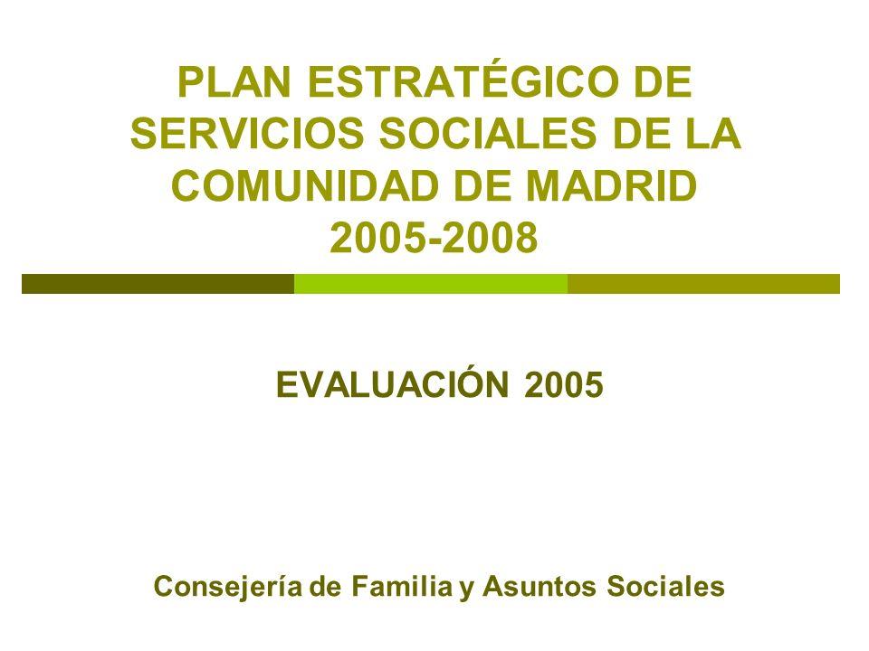 PLAN ESTRATÉGICO DE SERVICIOS SOCIALES DE LA COMUNIDAD DE MADRID 2005-2008 EVALUACIÓN 2005 Consejería de Familia y Asuntos Sociales