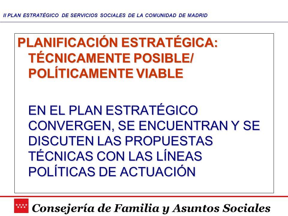 Consejería de Familia y Asuntos Sociales II PLAN ESTRATÉGICO DE SERVICIOS SOCIALES DE LA COMUNIDAD DE MADRID PLANIFICACIÓN ESTRATÉGICA: TÉCNICAMENTE P