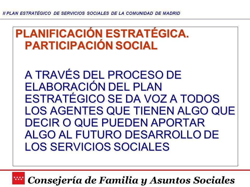 Consejería de Familia y Asuntos Sociales II PLAN ESTRATÉGICO DE SERVICIOS SOCIALES DE LA COMUNIDAD DE MADRID MODELO DE ELABORACIÓN MODELO DE ELABORACIÓN PARTICIPATIVO: TODOS LOS SUJETOS IMPLICADOS EN LA ATENCIÓN SOCIAL APORTAN SUS IDEAS Y SUGERENCIAS: –INTERNA: SE REALIZARÁ EN DOS NIVELES: TÉCNICO: COMITÉ DE PLANIFICACIÓN POLÍTICO: CONSEJO DE DIRECCIÓN –EXTERNA: A TRAVÉS DE: CONSEJO ASESOR DE BIENESTAR SOCIAL (Sindicatos, empresarios, asociaciones de usuarios) FEDERACIÓN MADRILEÑA DE MUNICIPIOS (Entidades municipales) PÚBLICO EN GENERAL (Internet) COORDINADO: CON EL OBJETO DE QUE LOS AVANCES EN UNA DETERMINADA ÁREA NO AFECTEN DE FORMA NEGATIVA A OTROS ÁMBITOS