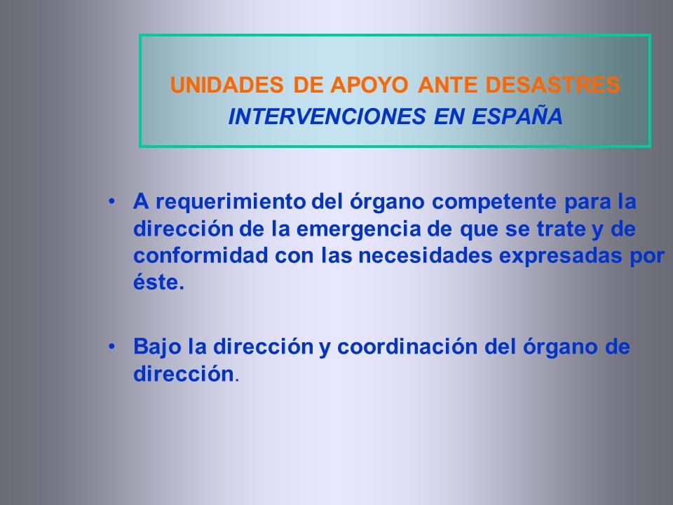 A requerimiento del órgano competente para la dirección de la emergencia de que se trate y de conformidad con las necesidades expresadas por éste. Baj
