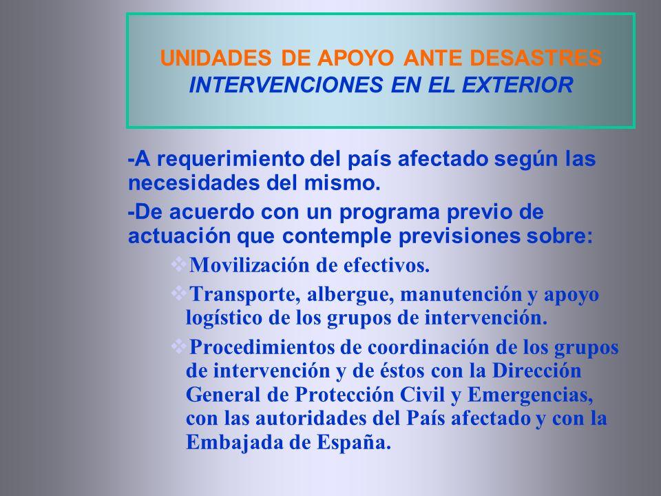 UNIDADES DE APOYO ANTE DESASTRES INTERVENCIONES EN EL EXTERIOR -A requerimiento del país afectado según las necesidades del mismo. -De acuerdo con un