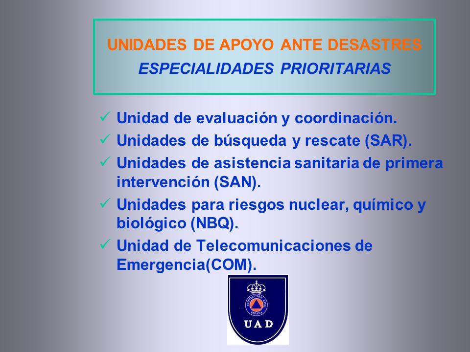 UNIDADES DE APOYO ANTE DESASTRES ESPECIALIDADES PRIORITARIAS Unidad de evaluación y coordinación. Unidades de búsqueda y rescate (SAR). Unidades de as