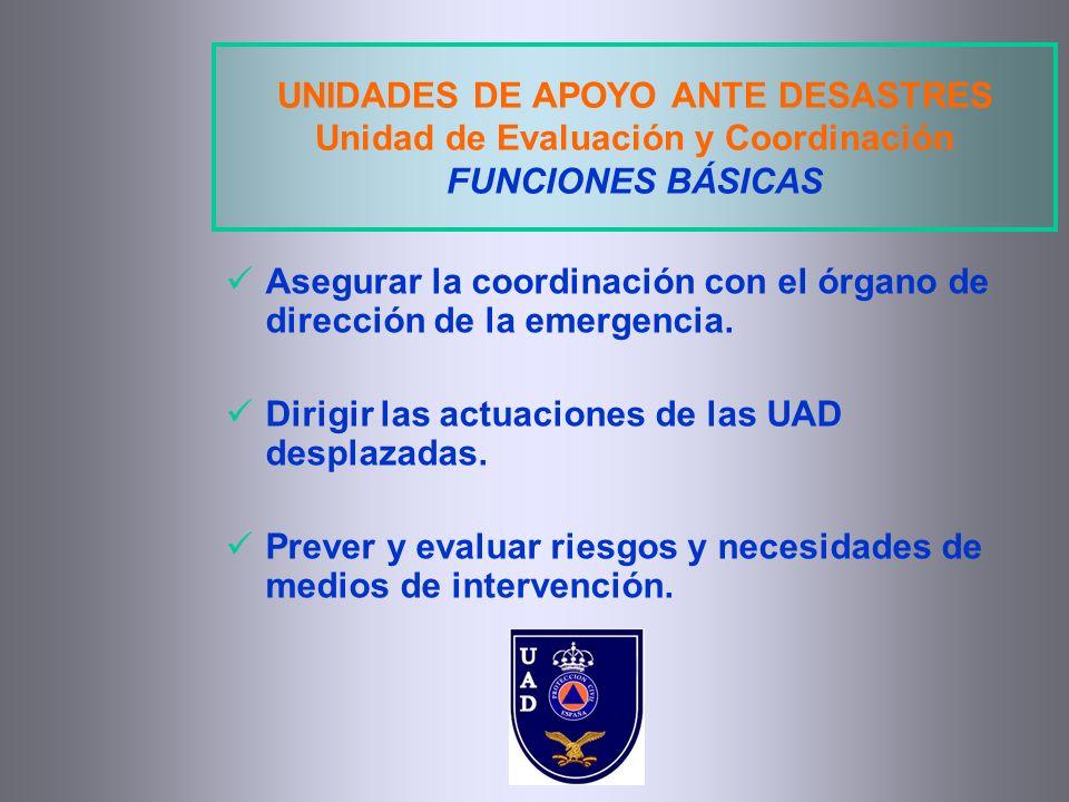 UNIDADES DE APOYO ANTE DESASTRES Unidad de Evaluación y Coordinación FUNCIONES BÁSICAS Asegurar la coordinación con el órgano de dirección de la emerg