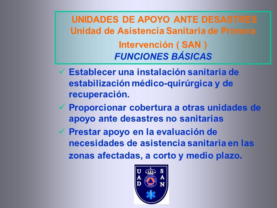 UNIDADES DE APOYO ANTE DESASTRES Unidad de Asistencia Sanitaria de Primera Intervención ( SAN ) FUNCIONES BÁSICAS Establecer una instalación sanitaria