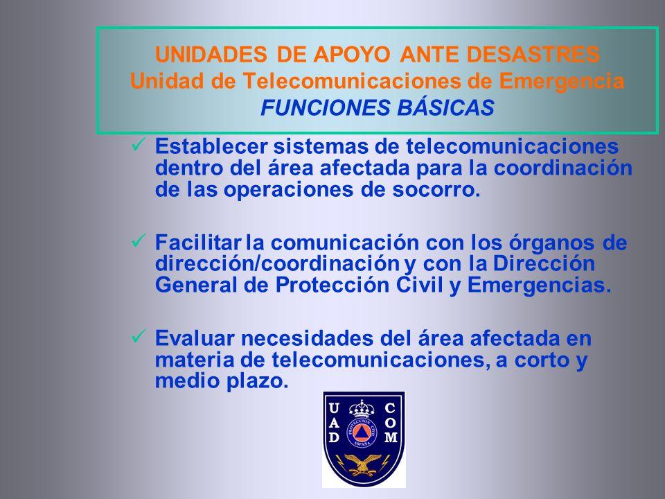 UNIDADES DE APOYO ANTE DESASTRES Unidad de Telecomunicaciones de Emergencia FUNCIONES BÁSICAS Establecer sistemas de telecomunicaciones dentro del áre