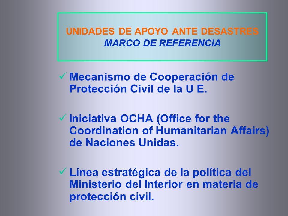 UNIDADES DE APOYO ANTE DESASTRES MARCO DE REFERENCIA Mecanismo de Cooperación de Protección Civil de la U E. Iniciativa OCHA (Office for the Coordinat