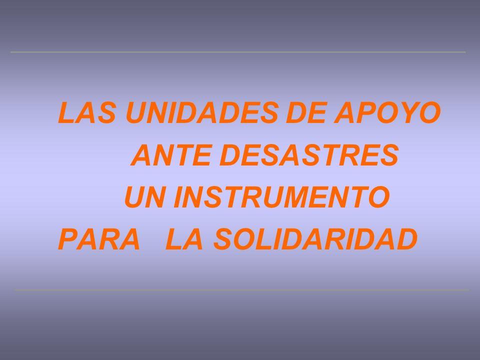 LAS UNIDADES DE APOYO ANTE DESASTRES UN INSTRUMENTO PARA LA SOLIDARIDAD