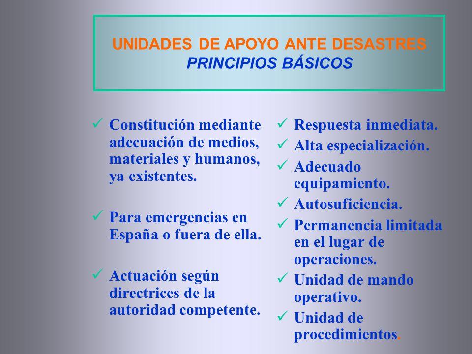 UNIDADES DE APOYO ANTE DESASTRES PRINCIPIOS BÁSICOS Constitución mediante adecuación de medios, materiales y humanos, ya existentes. Para emergencias