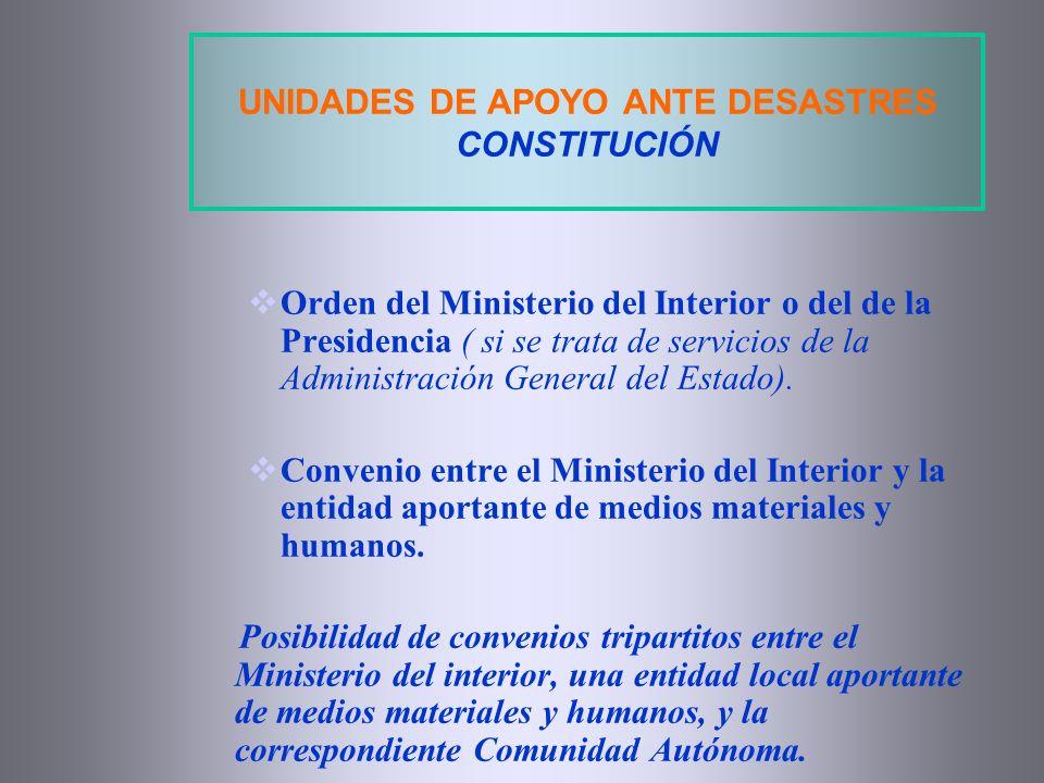 UNIDADES DE APOYO ANTE DESASTRES CONSTITUCIÓN Orden del Ministerio del Interior o del de la Presidencia ( si se trata de servicios de la Administració