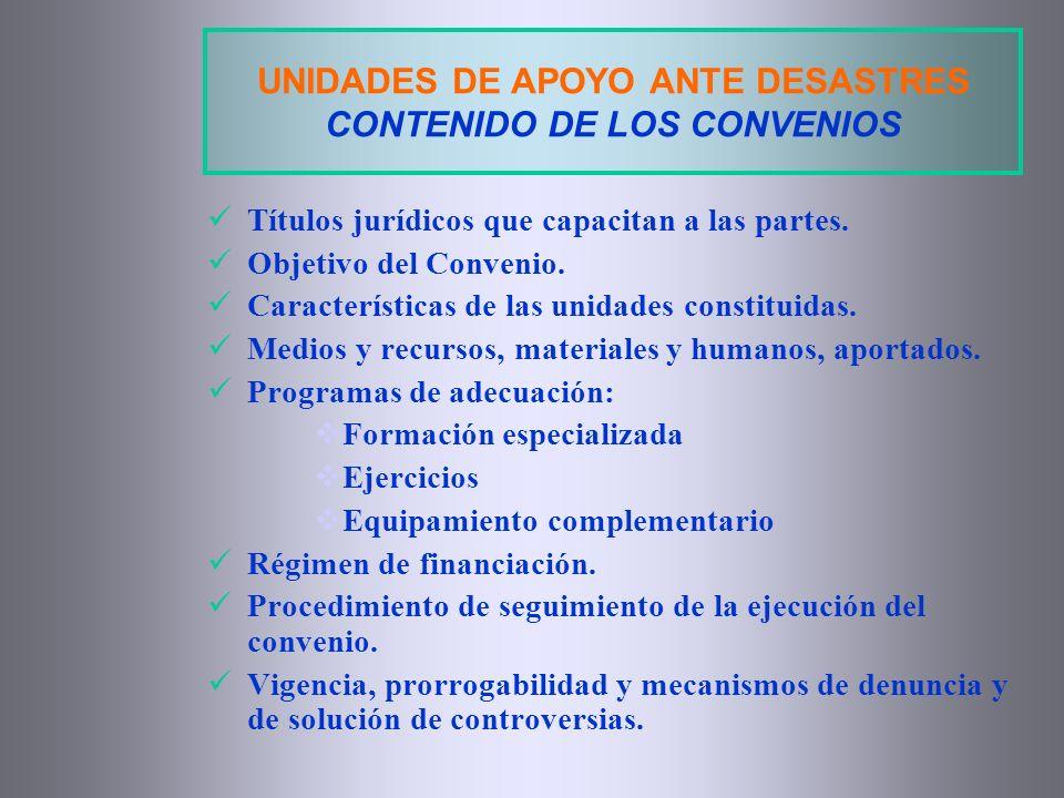 UNIDADES DE APOYO ANTE DESASTRES CONTENIDO DE LOS CONVENIOS Títulos jurídicos que capacitan a las partes. Objetivo del Convenio. Características de la