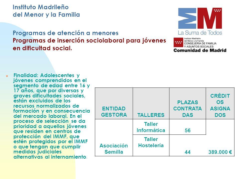Instituto Madrileño del Menor y la Familia Programas de atención a menores Programas de inserción sociolaboral para jóvenes en dificultad social. Fina
