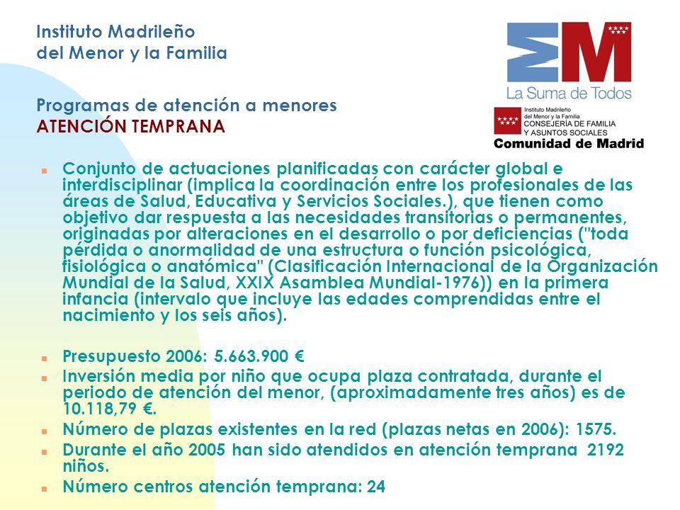 Instituto Madrileño del Menor y la Familia Programas de atención a menores ATENCIÓN TEMPRANA n Conjunto de actuaciones planificadas con carácter globa