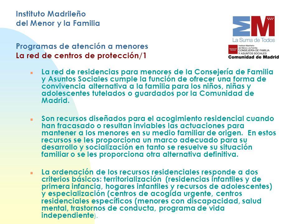 Instituto Madrileño del Menor y la Familia Programas de atención a menores La red de centros de protección/1 n La red de residencias para menores de l