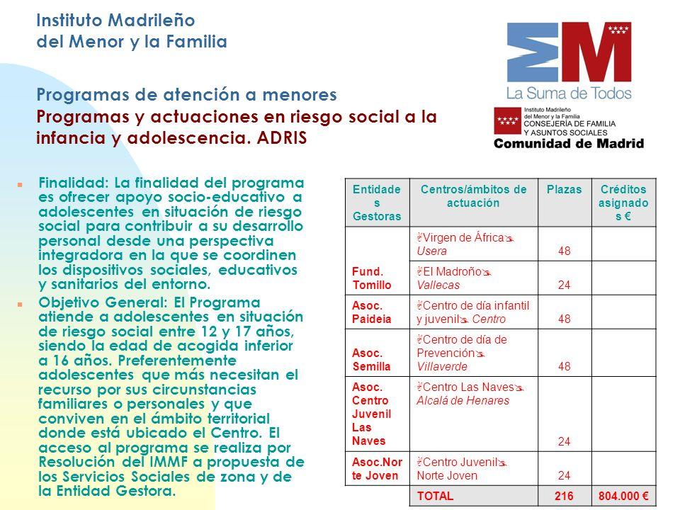 Instituto Madrileño del Menor y la Familia Programas de atención a menores Programas y actuaciones en riesgo social a la infancia y adolescencia. ADRI