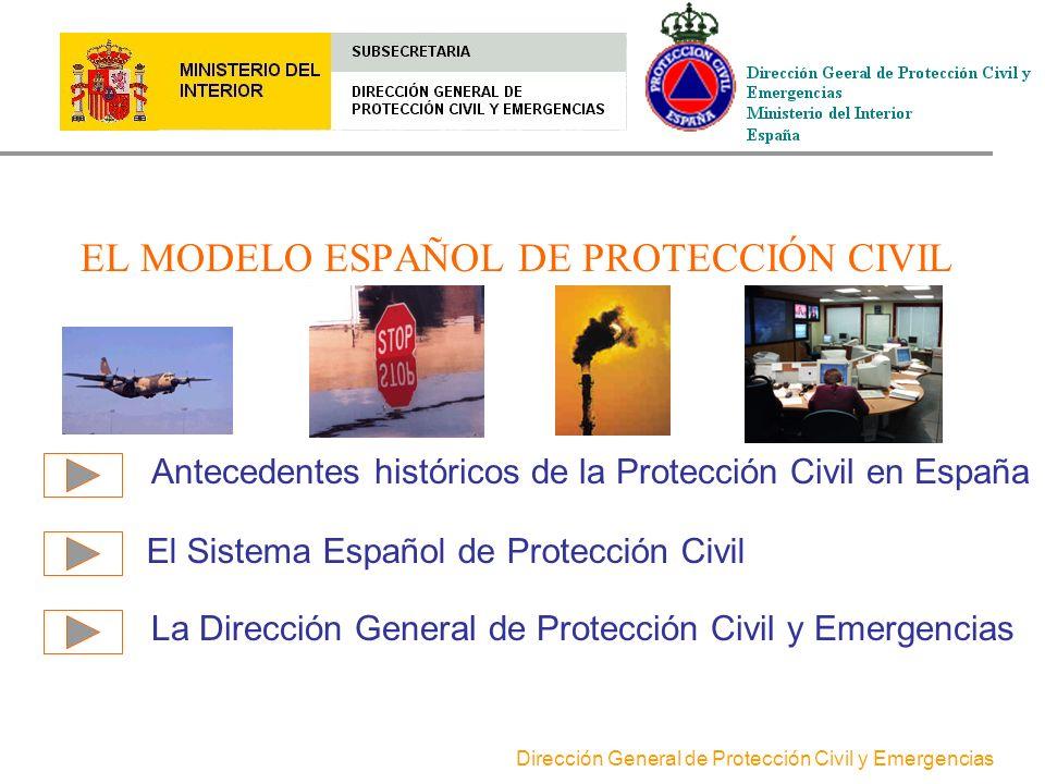 Dirección General de Protección Civil y Emergencias Antecedentes históricos de la Protección Civil en España El Sistema Español de Protección Civil La Dirección General de Protección Civil y Emergencias EL MODELO ESPAÑOL DE PROTECCIÓN CIVIL