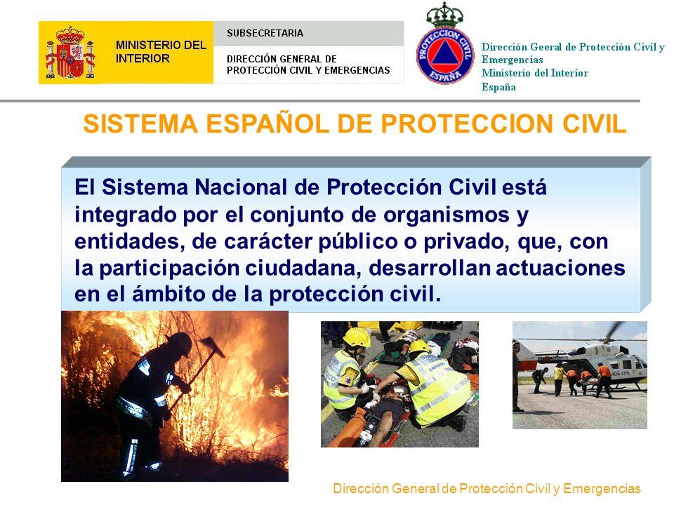 Dirección General de Protección Civil y Emergencias SISTEMA ESPAÑOL DE PROTECCION CIVIL El Sistema Nacional de Protección Civil está integrado por el conjunto de organismos y entidades, de carácter público o privado, que, con la participación ciudadana, desarrollan actuaciones en el ámbito de la protección civil.