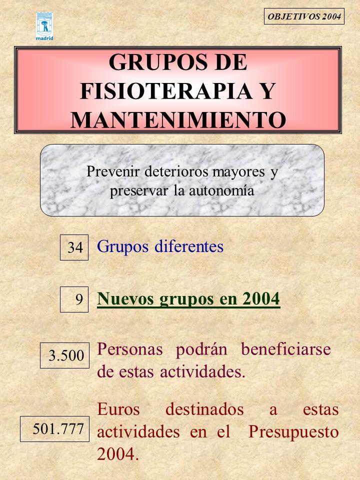 GRUPOS DE FISIOTERAPIA Y MANTENIMIENTO 34 Grupos diferentes Nuevos grupos en 2004 9 Prevenir deterioros mayores y preservar la autonomía Personas podr
