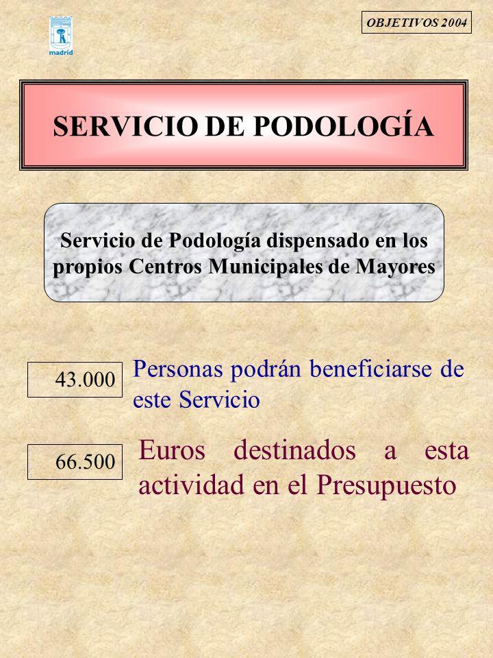 SERVICIO DE PODOLOGÍA Servicio de Podología dispensado en los propios Centros Municipales de Mayores Euros destinados a esta actividad en el Presupues