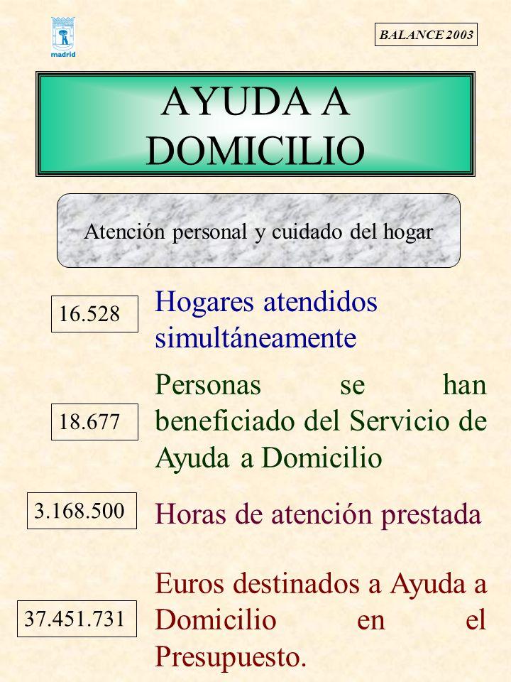AYUDA A DOMICILIO Hogares atendidos simultáneamente 18.677 Personas se han beneficiado del Servicio de Ayuda a Domicilio 3.168.500 Horas de atención prestada 37.451.731 Euros destinados a Ayuda a Domicilio en el Presupuesto.