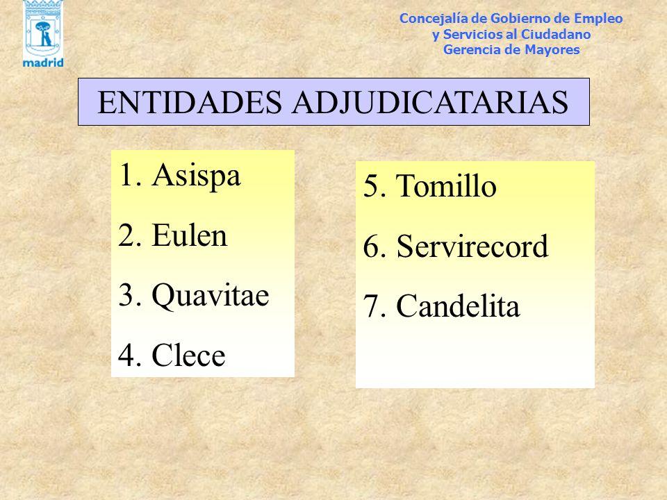 1.Asispa 2. Eulen 3. Quavitae 4. Clece Concejalía de Gobierno de Empleo y Servicios al Ciudadano Gerencia de Mayores ENTIDADES ADJUDICATARIAS 5. Tomil