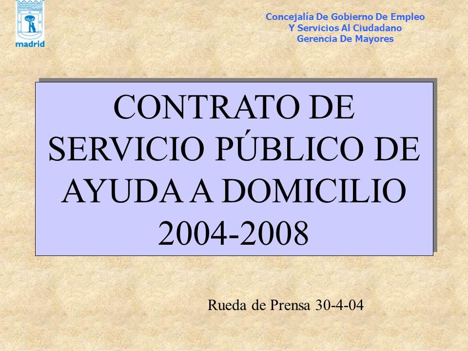 Concejalía De Gobierno De Empleo Y Servicios Al Ciudadano Gerencia De Mayores CONTRATO DE SERVICIO PÚBLICO DE AYUDA A DOMICILIO 2004-2008 Rueda de Pre