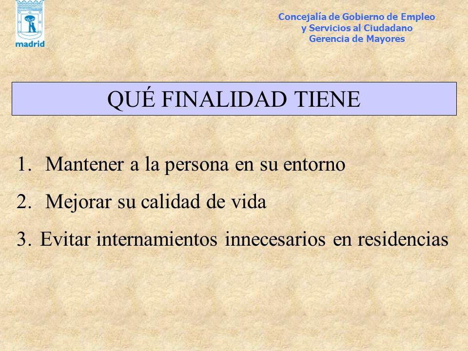 Concejalía de Gobierno de Empleo y Servicios al Ciudadano Gerencia de Mayores OBJETIVO 2004: DOMICILIOS Centro1.400 Usera1.000 Arganzuela1.000 Retiro850Pte.