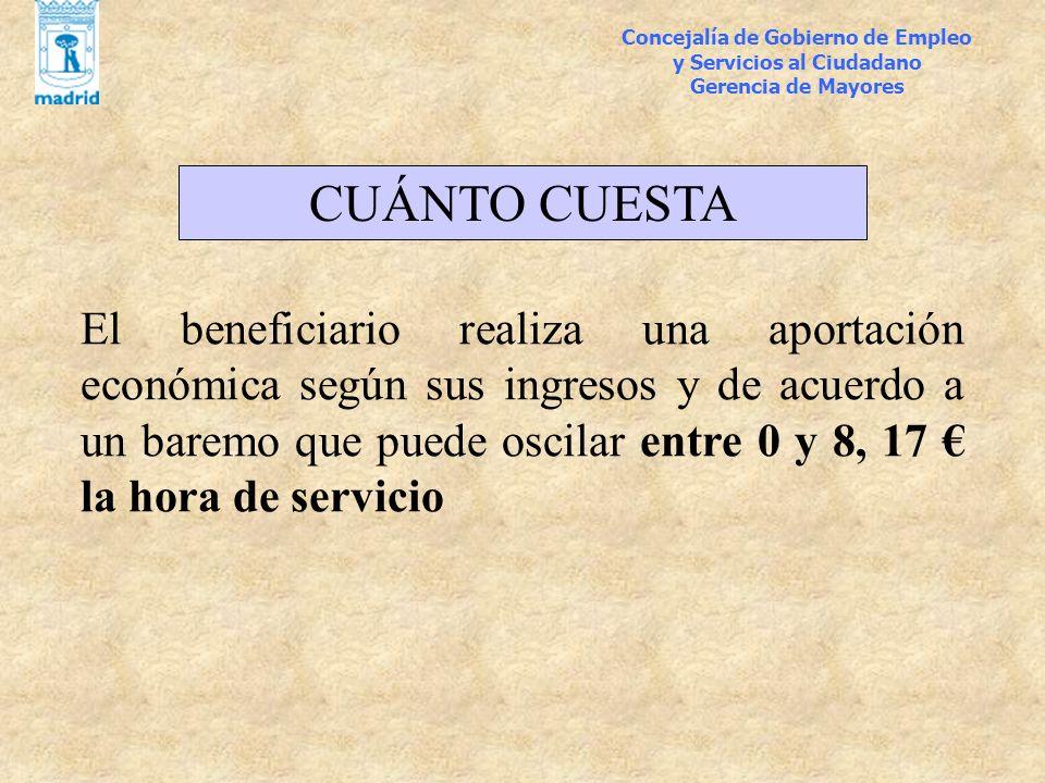 Concejalía de Gobierno de Empleo y Servicios al Ciudadano Gerencia de Mayores CUÁNTO CUESTA El beneficiario realiza una aportación económica según sus