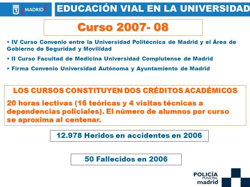 EDUCACIÓN VIAL EN LA UNIVERSIDAD Curso 2007- 08 IV Curso Convenio entre la Universidad Politécnica de Madrid y el Área de Gobierno de Seguridad y Movi