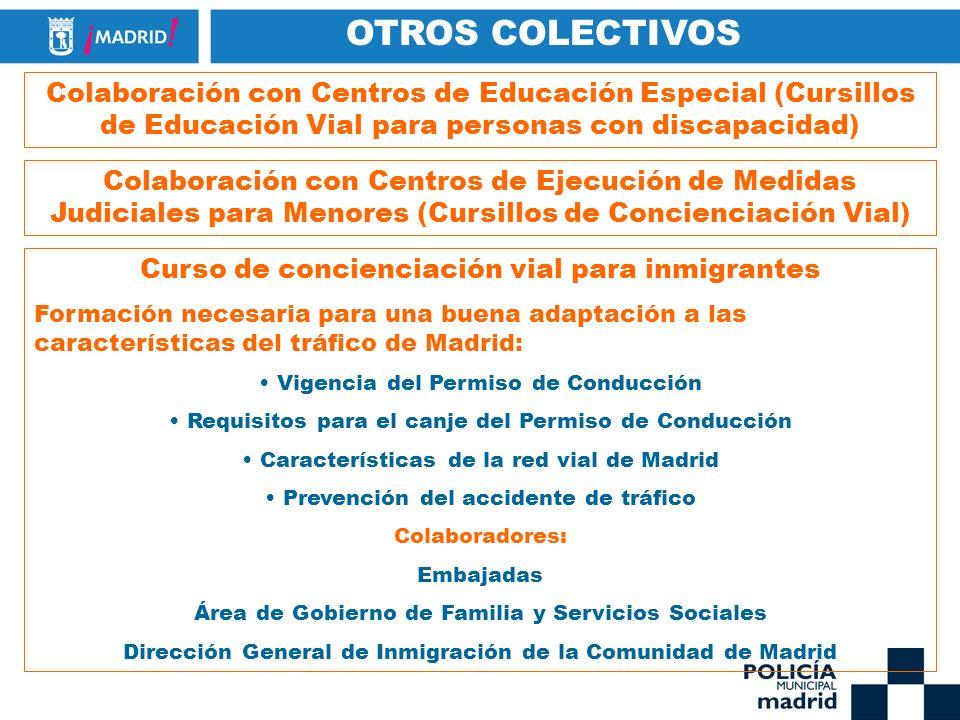 OTROS COLECTIVOS Colaboración con Centros de Educación Especial (Cursillos de Educación Vial para personas con discapacidad) Colaboración con Centros