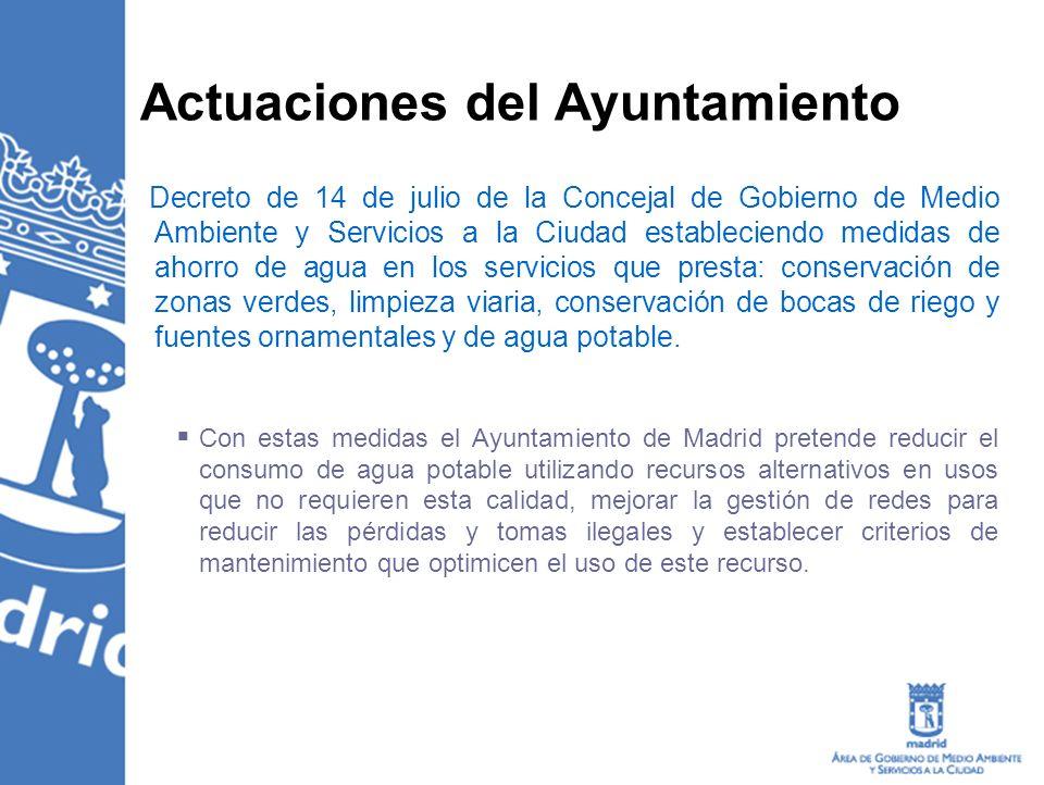 Actuaciones del Ayuntamiento Decreto de 14 de julio de la Concejal de Gobierno de Medio Ambiente y Servicios a la Ciudad estableciendo medidas de ahor