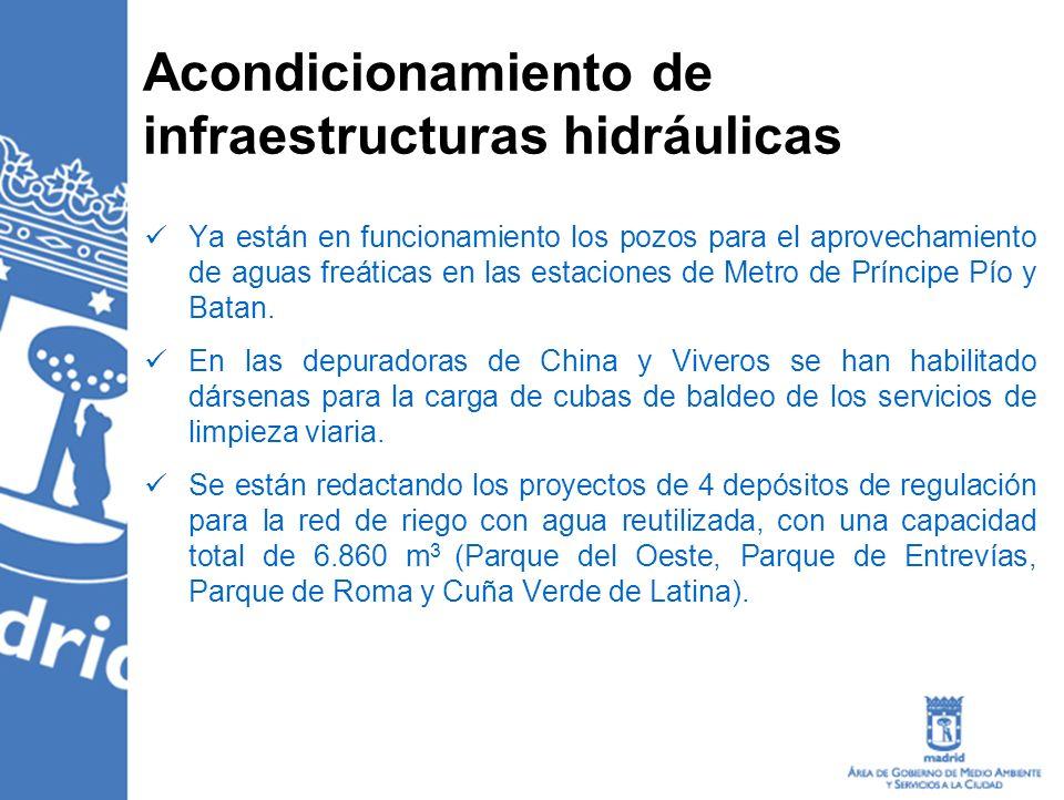Acondicionamiento de infraestructuras hidráulicas Ya están en funcionamiento los pozos para el aprovechamiento de aguas freáticas en las estaciones de