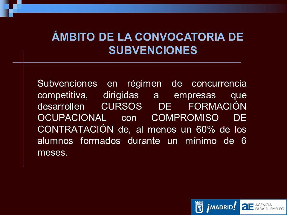 Subvenciones en régimen de concurrencia competitiva, dirigidas a empresas que desarrollen CURSOS DE FORMACIÓN OCUPACIONAL con COMPROMISO DE CONTRATACIÓN de, al menos un 60% de los alumnos formados durante un mínimo de 6 meses.