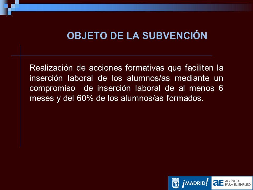 CONTENIDO DE LOS PROYECTOS Artículo 3.7 de la Convocatoria: Acciones formativas dirigidas a la inserción laboral Contenidos voluntarios y obligatorios.