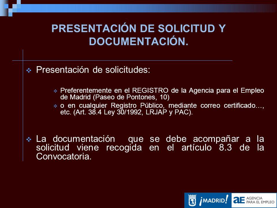 PRESENTACIÓN DE SOLICITUD Y DOCUMENTACIÓN.