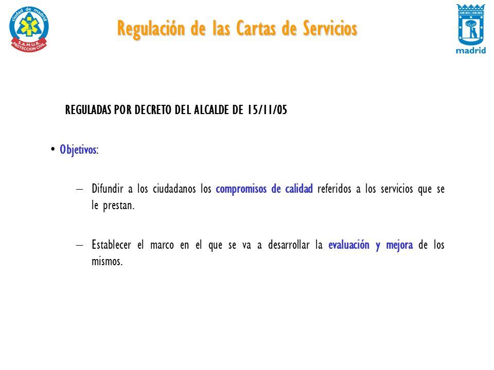 Regulación de las Cartas de Servicios REGULADAS POR DECRETO DEL ALCALDE DE 15/11/05 Objetivos: –Difundir a los ciudadanos los compromisos de calidad r