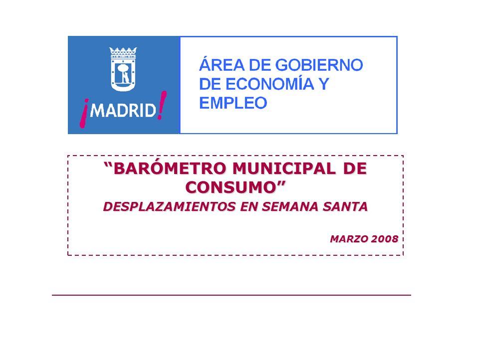 BARÓMETRO MUNICIPAL DE CONSUMO DESPLAZAMIENTOS EN SEMANA SANTA MARZO 2008